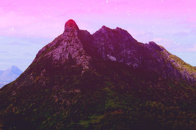 Gradient Mountain. 見上げる ⛰️🌸 Colors Gradient Photoshop Amazing Hiking Canon Art Trail Color Fantastic Nature Beauty In Nature Mountain Landscape Sky Purple Scenics Galaxy No People Outdoors Astronomy