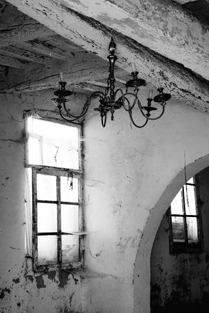 Abandoned House, No People, Black And White, Cobwebbed Windows Hanging Chandelier No People No Photoshop, No Filter Sony A6000 Weathered Walls Wooden Ceiling Chandelier With Candles