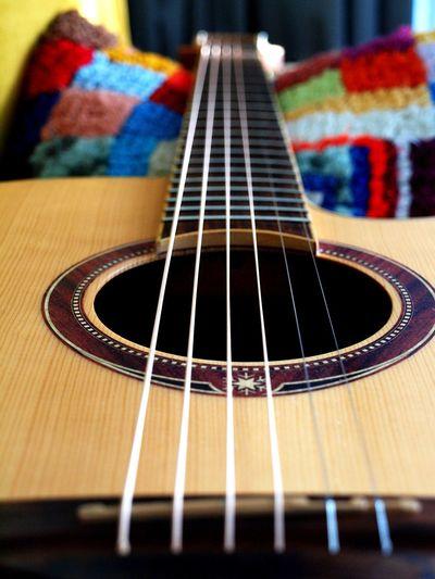 A guitar rests