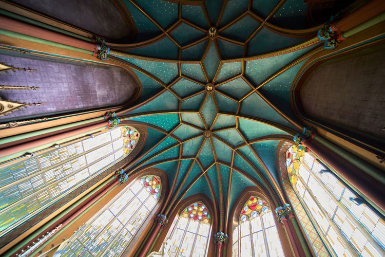 Pattensen, germany, september 16., 2020, turquoise ceiling of the chapel in marienburg castle