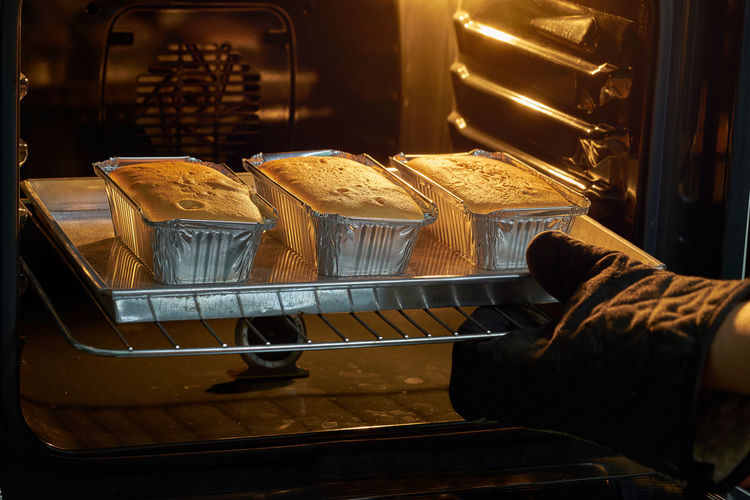 High angle view of food baking in oven