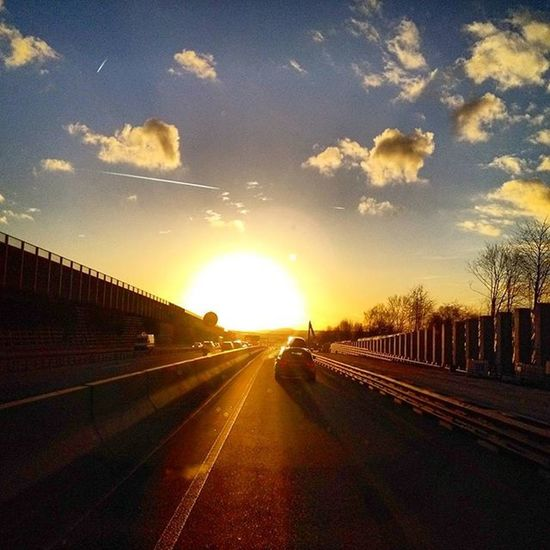 A7 Autobahn Highway Sun Sunset Photoarena_sunset Driving Drive Drivinghome Cloud Clouds Skyisburning Sky Heaven Roadtrip Road Street Heimfahrt
