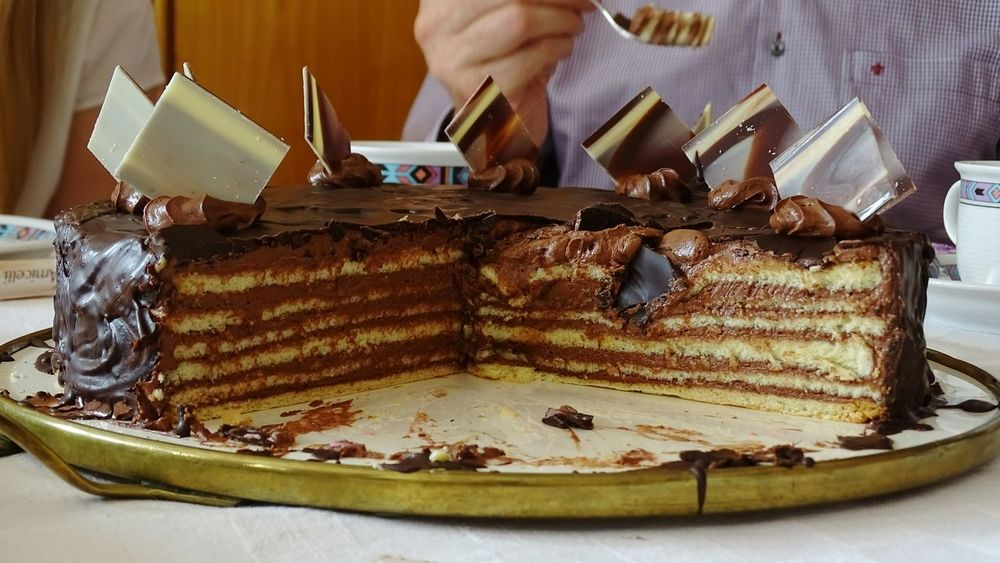 Adults Only Indoors  Food Indulgence One Person Food And Drink Table Plate Sweet Food Close-up Torte Gateau Layer Cake Chocolate Covered Delicious Day