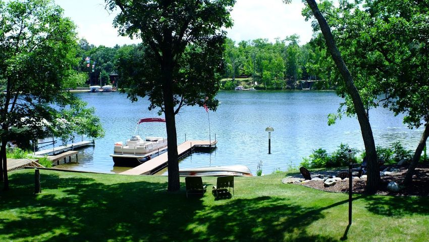 Lake Country Minnesota Beauty In Nature Day Grass Green Color Growth Lake Moored Nature Nautical Vessel No People Outdoors Pequot Lakes Scenics Sky Tranquil Scene Tranquility Tree Water
