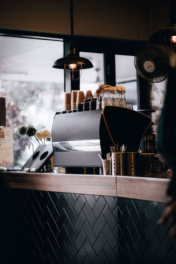 Close-up of coffee machine in cafe