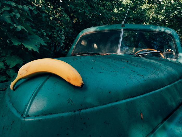 Green Yellow Car Banana Vintage Car VSCO victory Pobeda Eyeemphoto Adapted To The City