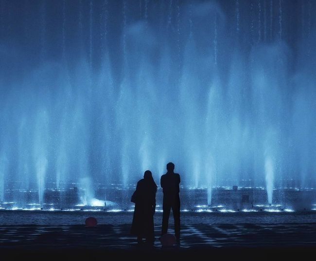 Silhouette Water People Two People Social Issues Standing Outdoors Fog Night Men Adults Only Adult Nature City