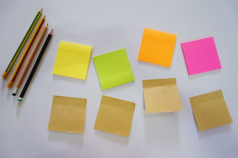 Pencil and post it Post Its Working Colorful Art Color Background Communication Adhesive Note Note Multi Colored Reminder Yellow Indoors  Group Of Objects Choice White Background Close-up Paper Office Copy Space Group