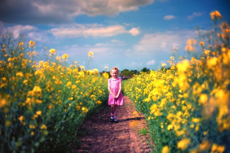 Agriculture Beauty In Nature Blond Hair Childhood Day Field Flower Front View Full Length Girls Happiness Looking At Camera Nature One Person Outdoors Portrait Real People Sky Standing Yellow