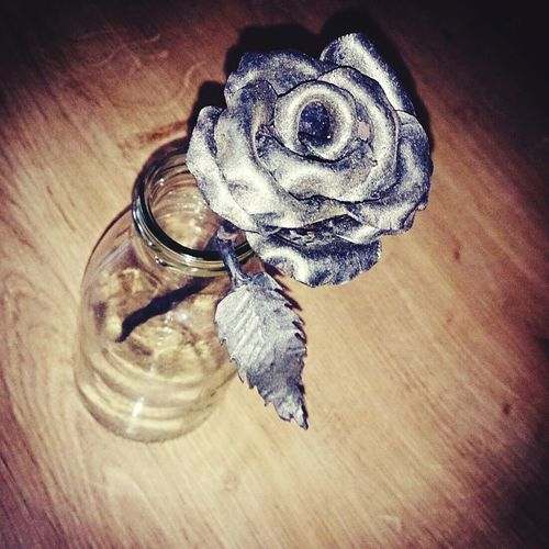 Table Wood - Material Indoors  No People Metallic Metalwork Metal Art Metal Rose Rose - Flower Roses_collection Rose Art Metal Artwork On Wood Wooden Table Hobby Photography