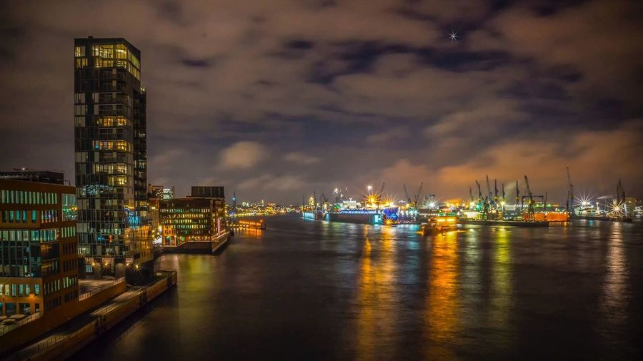 Night Illuminated Water Sky Architecture Built Structure Building Exterior Nautical Vessel Reflection No People Waterfront Travel Destinations Cloud - Sky Harbor Sea Industry Commercial Dock Outdoors Moored Skyscraper Hamburg Panorama Fischmarkt Kristall Nachtaufnahme