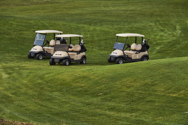 Golf Carts Parked On Course
