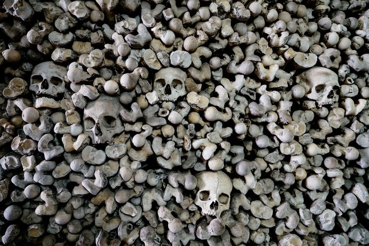 Abundance Backgrounds Bones Close-up Creepy Crypt Detail Full Frame Hythe Kent Large Group Of Objects Natural Pattern No People Skull St Leonard's Church Taboo
