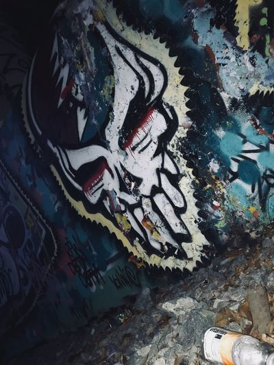Graffiti Art And Craft Creativity High Angle View No People Multi Colored Paint