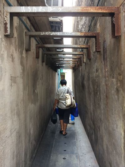 Architecture Full Length Rear View One Person Built Structure The Way Forward Direction Building Lifestyles Casual Clothing Tunnel Indoors  Day Leisure Activity Alley Mirror