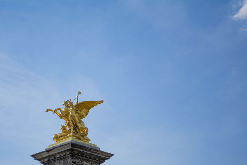 Blue Blue Sky Europe France Gold Icon Light Clouds Low Angle View Monument Paris Sky Statue Travel Travel Photography