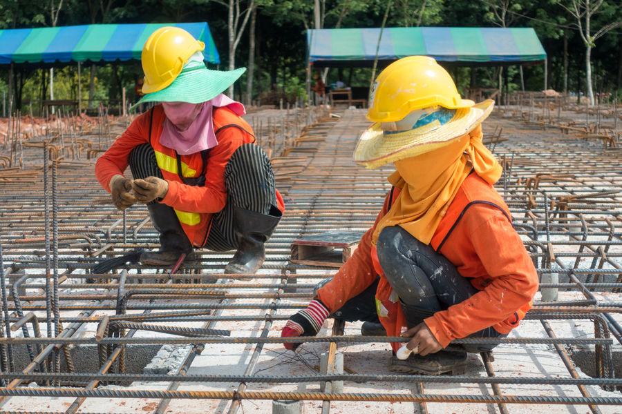 Construction Construction Site Worker Civil Concrete Construction Work Installation Site Steel Bar Structure