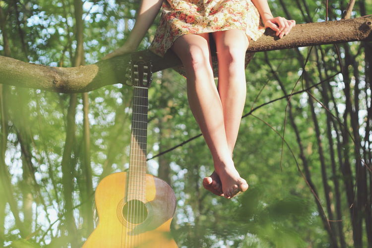 Low Section Of Woman Sitting On Branch By Guitar At Forest