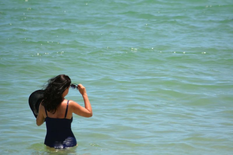 Rear View Adult Standing Water Only Women Sea Outdoors One Young Woman Only Women One Woman Only Beach Life Leisure Activity Beach Ocean Vacations Bathing Suit  Back Young Women One Person Adults Only People Tropical Beauty Tropical Sommergefühle EyeEm Selects Breathing Space