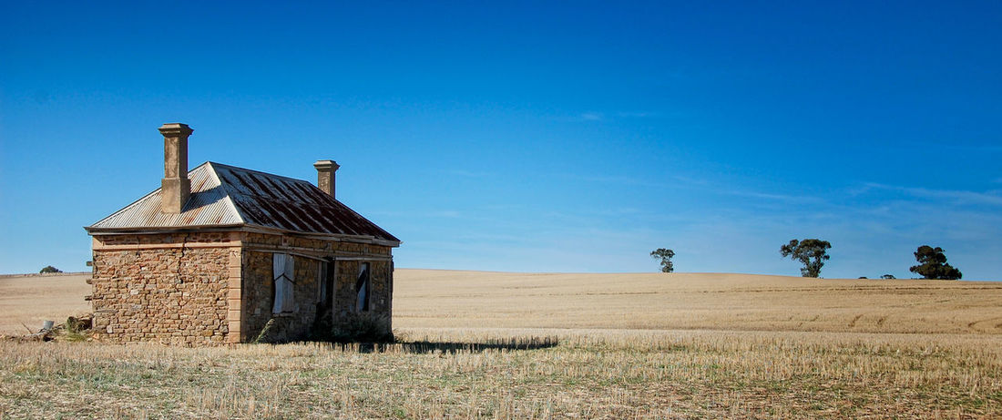 Somewhere in South Australia Abandoned House Australia Blue Clear Sky Farm Field Landscape Landscapes No People Outback Outdoors Rural Scene Scenics Sky South Australia South Australian Outback Tranquil Scene