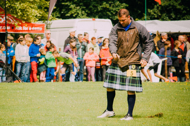 Highland Games Kilt Leisure Activity Lifestyles Real People Scotland Standing Weight Throw Young Adult