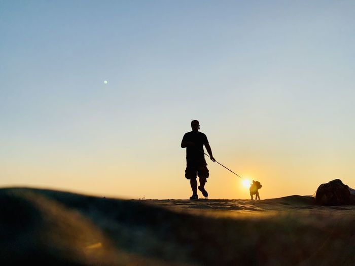 Silhouette man with dog walking on land against sky during sunset