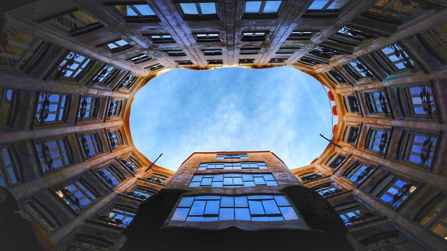 Directly Below Shot Of Casa Mila