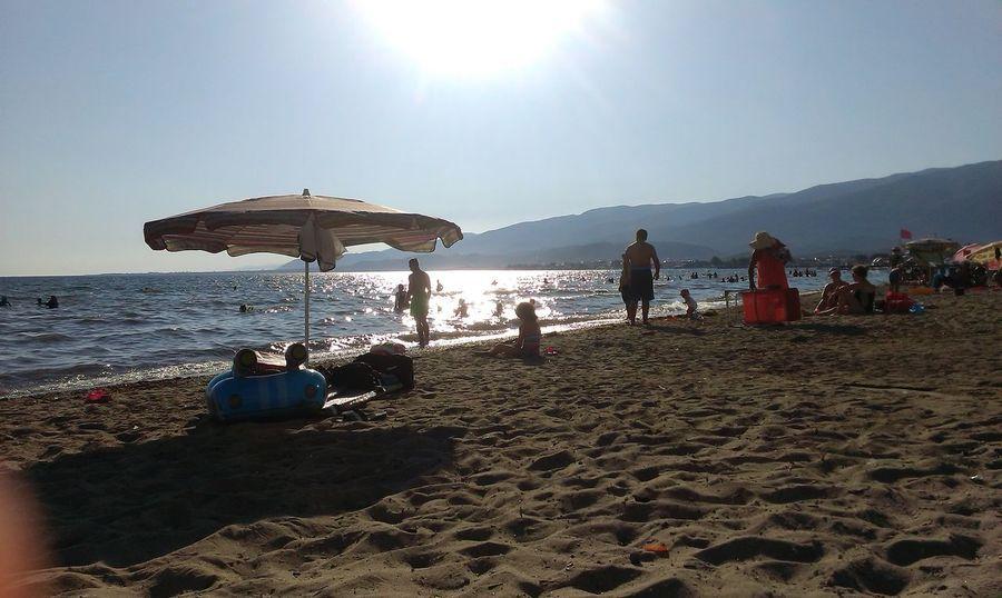 Summer Came! Summer ☀ Hanging Out Sea Kaz Mountains Umbrella People Swimming Blue Sky Wave Like Gold Sand Sand & Sea  Turkey Balıkesir/Akçay Balıkesir