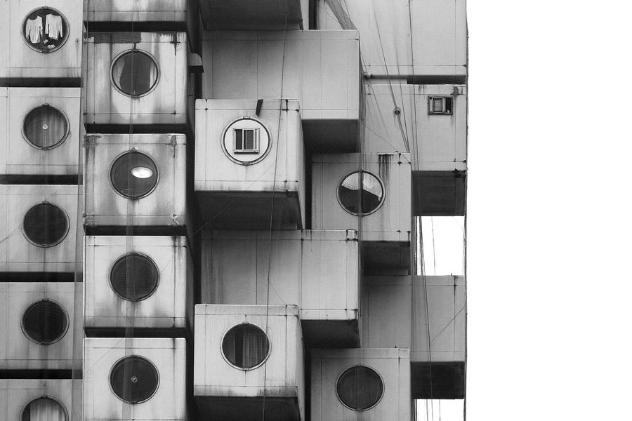 Architecture Blackandwhite Façade Geometric Shape Geometry In A Row Large Group Of Objects Medium Group Of Objects Metabolism Nakagin Capsule Tower No People Order Repetition Shelf Monochrome Photography Beautifully Organized