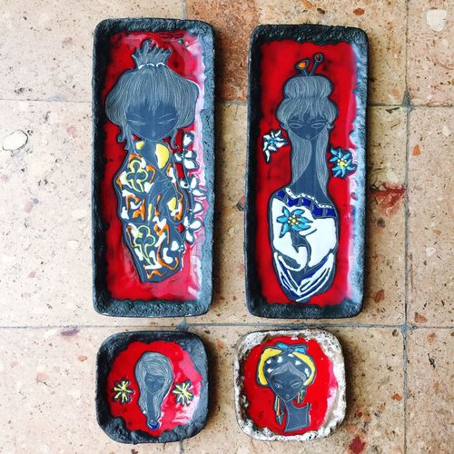 Women Vintage Style No People Red Multi Colored Nobody Old-fashioned italy Object 60s 60s Style 60s Fashion 60s San Marino ceramics black