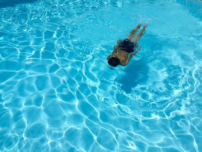 Boy is swimming