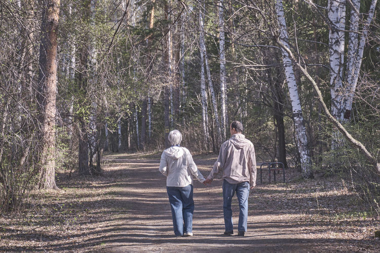 Rear view of two people walking in forest