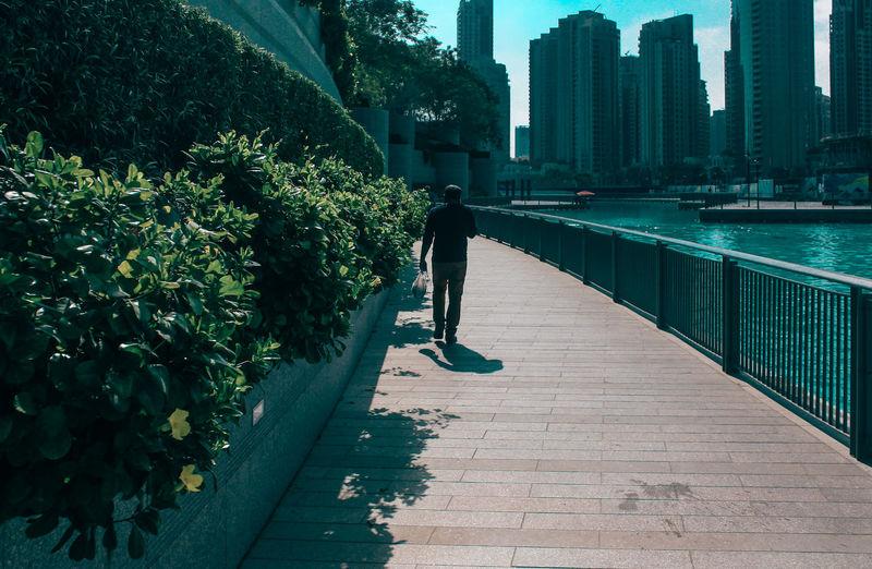 Rear view of man walking on sidewalk by river in city