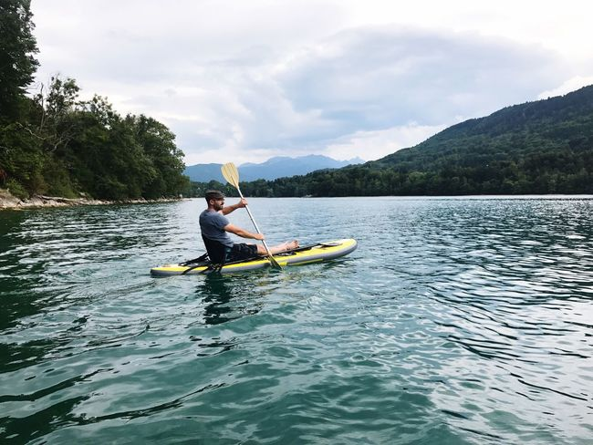 Done That. Oar Leisure Activity One Person Kayak Nature Water Adventure Real People Day Nautical Vessel Outdoors Men Lifestyles Boys Cloud - Sky Holding Mountain Sky Standing Transportation Lost In The Landscape