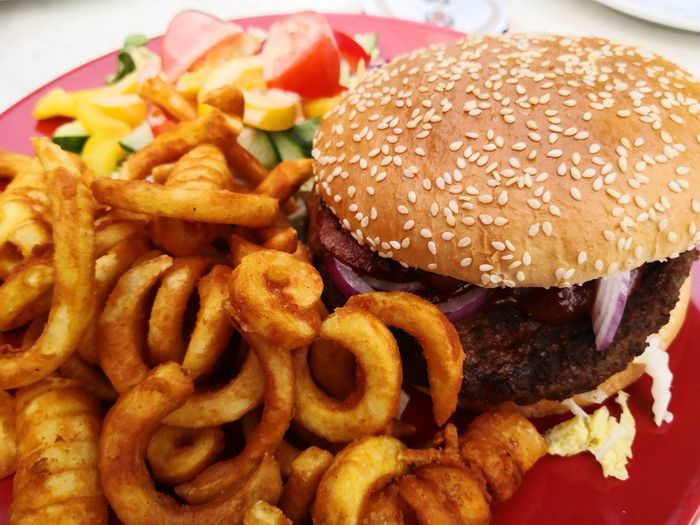 Close-up of burger and fries in plate