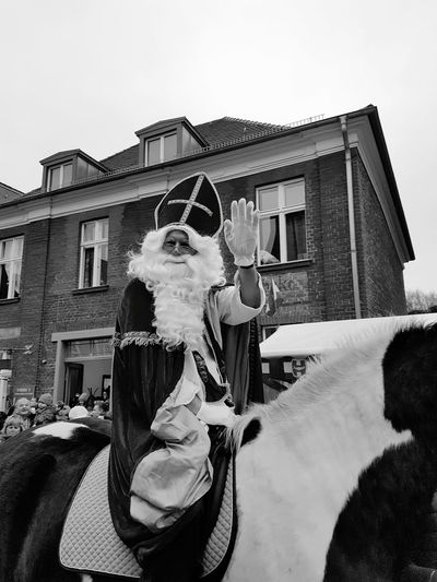 Christmastime Nikolaus Saint Nicholas Beard White Beard People People Photography Blackandwhite Black And White Riding Horse