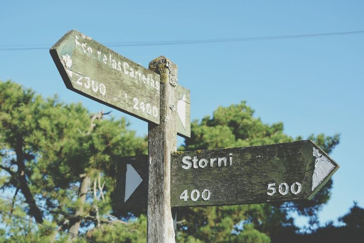 Road Sign Clear Sky Rural Scene One Way Street Name Sign Road Weather Vane Guidance Direction Communication