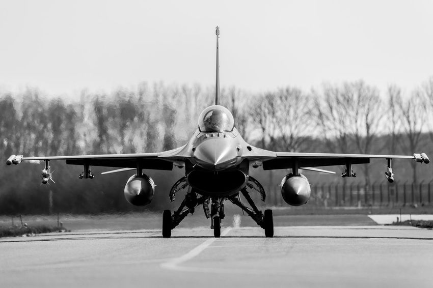 Shot during exercise Frisian Flag Air Base Air Force Air Vehicle Airplane Exercise F-16 Flying Frisian Flag Leeuwarden Military Military Aviation Museum Netherlands ❤ No People Sky TakeOff Taxiing Transportation