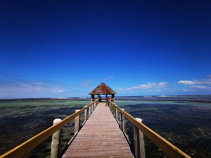 Bridge Water Sea Beach Full Length Blue Jetty Pier Summer Horizon Sky Seascape Coast Bridge - Man Made Structure