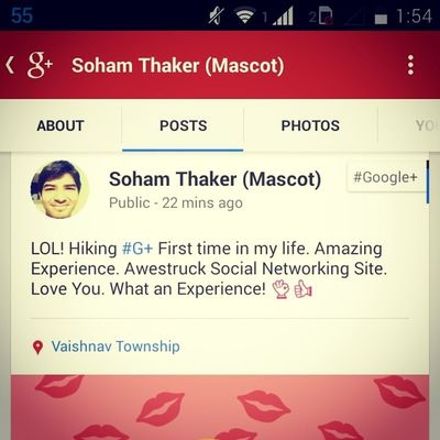 +1 me on Google +. «+1SohamThaker» G + Soham Socialnetworking Amazing Experience. You should try it. Awesome SNS ??☝??????