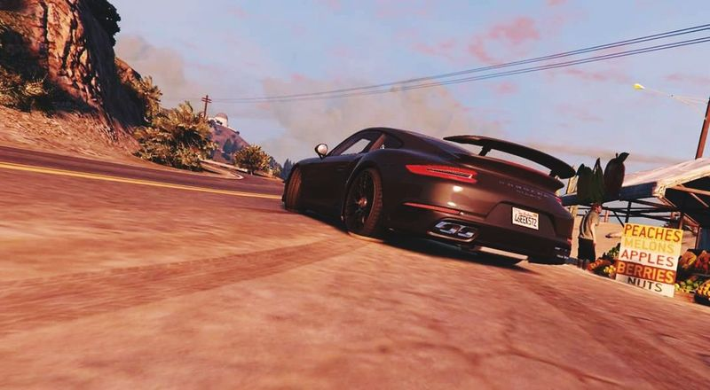 For one's not real life ✌ GTAV Mods Porsche Sunrise Vinewood Lossantos Outdoors Sky Driving No People Tire Speed Magical