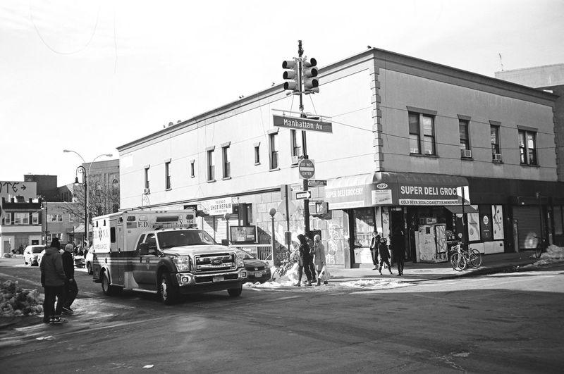 Manhattan Ave, Brooklyn, January 2016 Contax Contaxt3 Neopan Neopan Acros 35mm Film Film Photography Greenpoint Brooklyn NYC Fdny Streetphoto_bw Streetphotography Street Photography City Street