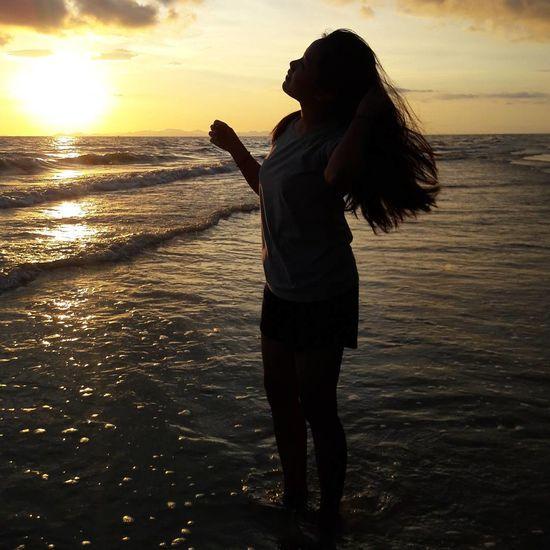 Sea Beach Sunset Sunlight Sky Beauty In Nature Vacations Thailand