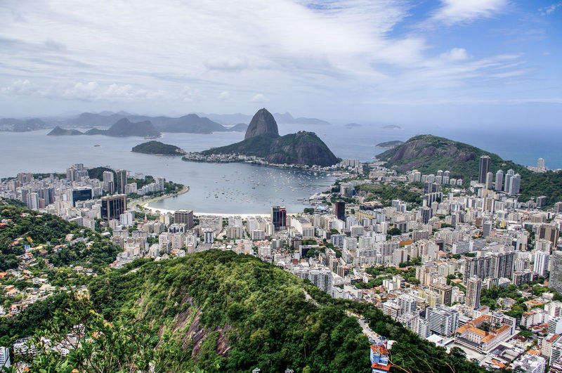 Panoramic view of rio against cloudy sky