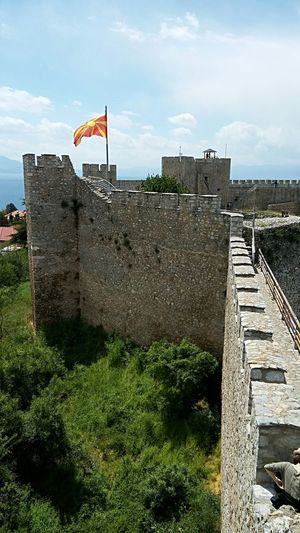 Ohrid fortress Tourist Destination Travel Destinations Macedonia Fortress Fortress View Fortress Wall Fortress Of Stone Fortress Europe Fortress In Europe History Place Historical Monuments Medieval Lake Ohrid Outdoors Outdoors Photograpghy  Ohrid Macedonia Flag Architecture History No People Sky Built Structure