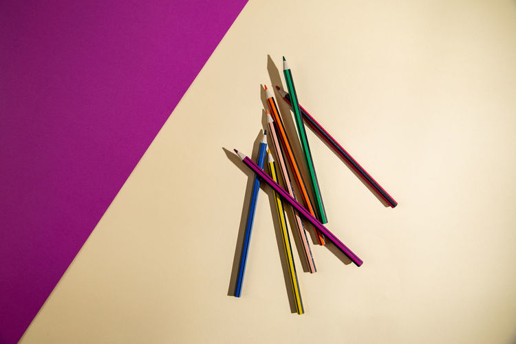 High angle view of multi colored pencils
