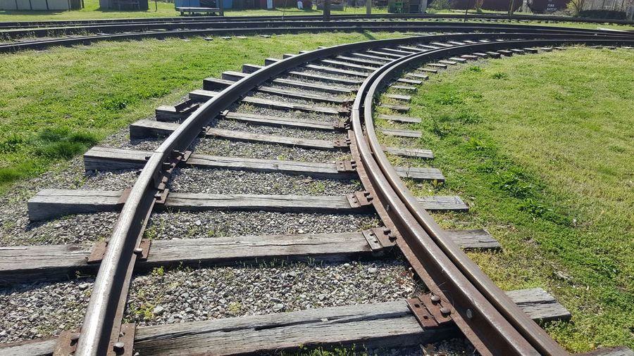 High angle view of railroad tracks on field