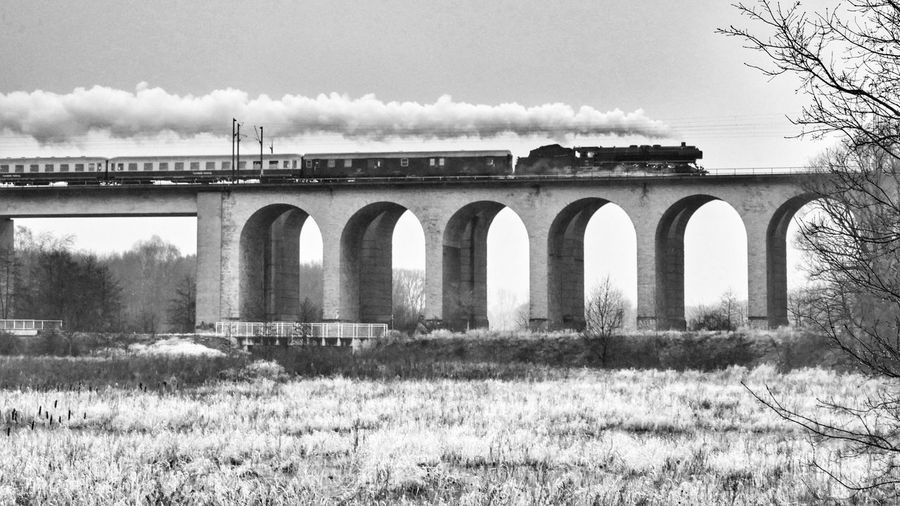 Steamtrain at Full Speed on the Schildesche - Viaduct Bielefeld Germany Steam Locomotives Steam Trains Black And White Blackandwhite Bnw Monochrome Photography Black & White Feel The Journey Railroad Railway Global Photographers Alliance Global Photographer Works Exhibition Need For Speed Steam Locomotive Bridge Bridges Landscape Photography In Motion Transportation