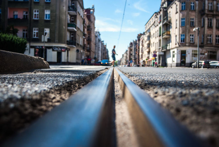 Surface Level Of Tram Tracks In City