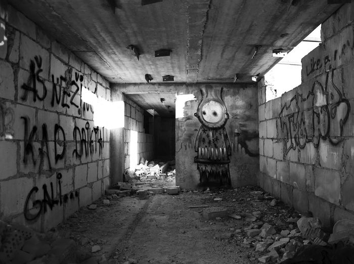 ".. ""Aš nežinojau, kad daiktai gali..."" ""I did not know that things could ..."" Black & White Abandoned Architecture Building Built Structure Damaged Graffiti Indoors  EyeEmNewHere"